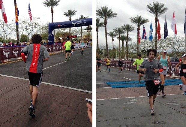 Phoenix Marathon 2013 I Barely made my goal of under 4 hours. I wanted to walk so bad at mile 21, but knew I wouldn't make it. Tuff mental/physical battle on my first marathon.